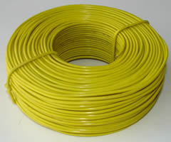 A coil yellow PVC coated rebar tie wire